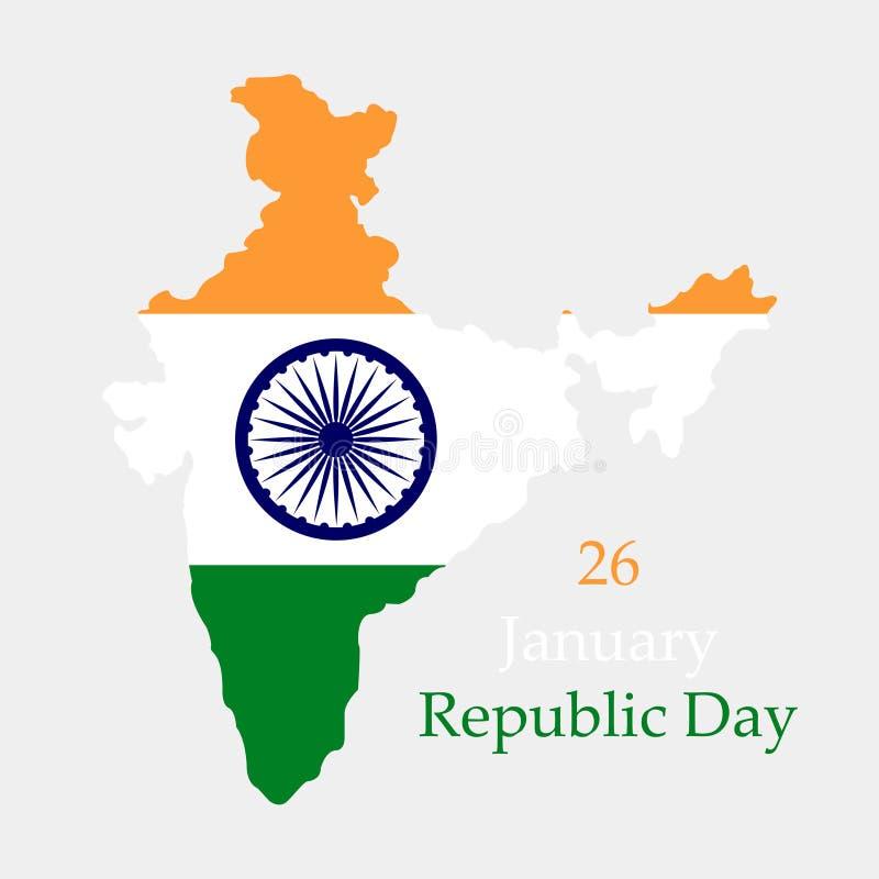 愉快的共和国天在印度 印度的疆土和旗子灰色背景的 皇族释放例证