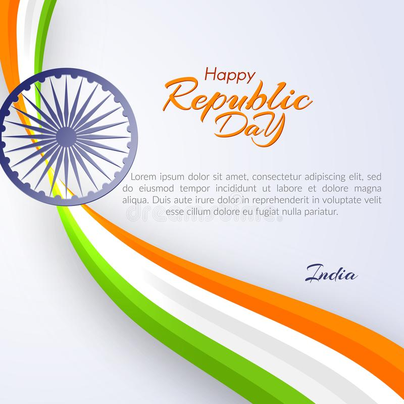 愉快的共和国天的全国印度旗子元素设计的颜色模板在印度模板的与文本和丝带  向量例证