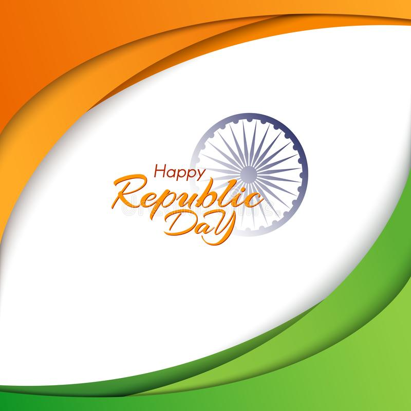 愉快的共和国天的横幅在印度模板与文本和印度元素国旗的颜色流线的  皇族释放例证