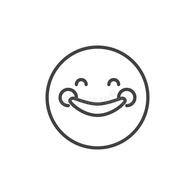 愉快的兴高采烈的Emoji概述象 向量例证