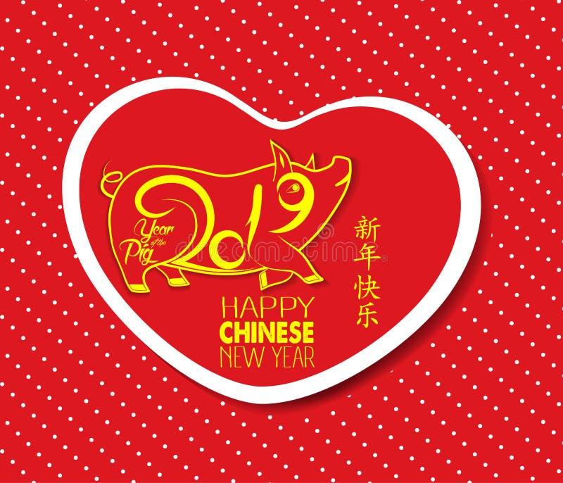 愉快的农历新年2019年猪 汉字意味新年快乐,富裕,贺卡图片