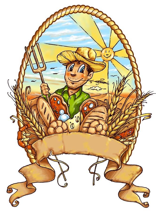 愉快的农夫动画片丝毫横幅 库存例证