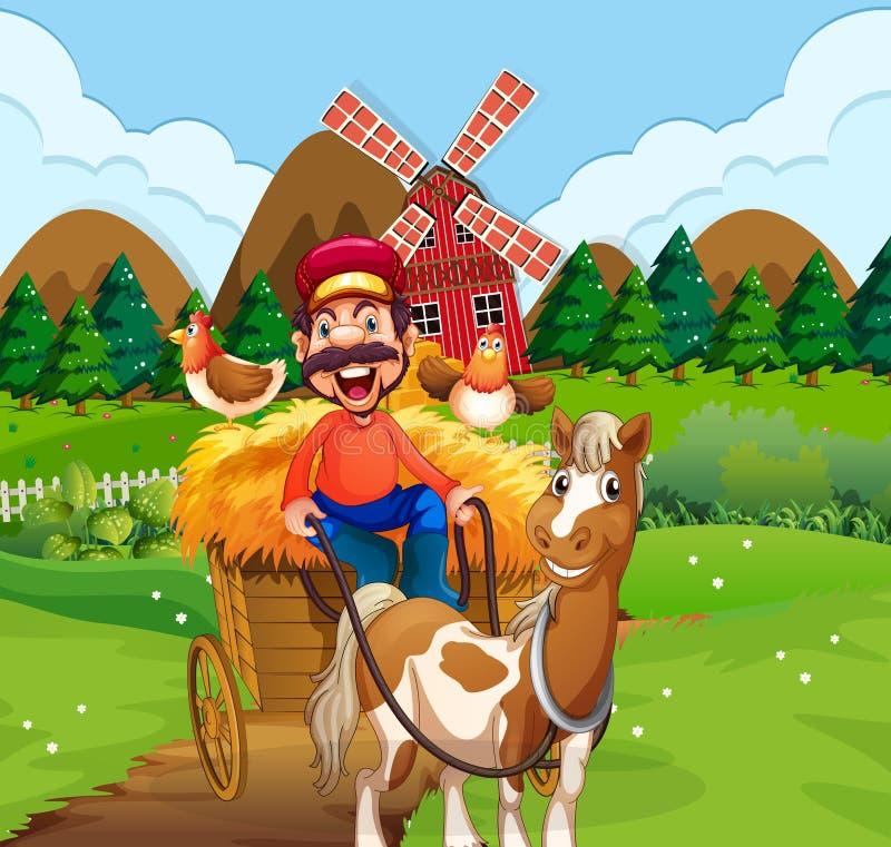愉快的农夫骑马推车 皇族释放例证