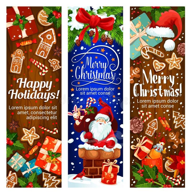 愉快的冬天圣诞节假日传染媒介横幅 向量例证
