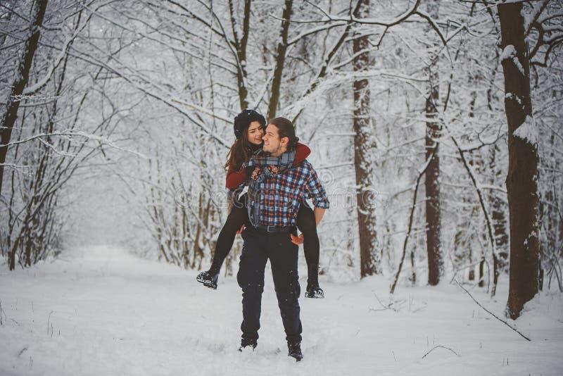 愉快的冬天旅行夫妇 库存图片