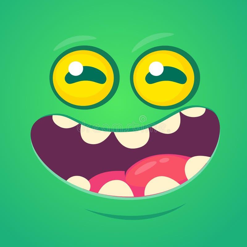 愉快的凉快的动画片妖怪面孔 传染媒介万圣夜绿色蛇神或妖怪字符 库存例证