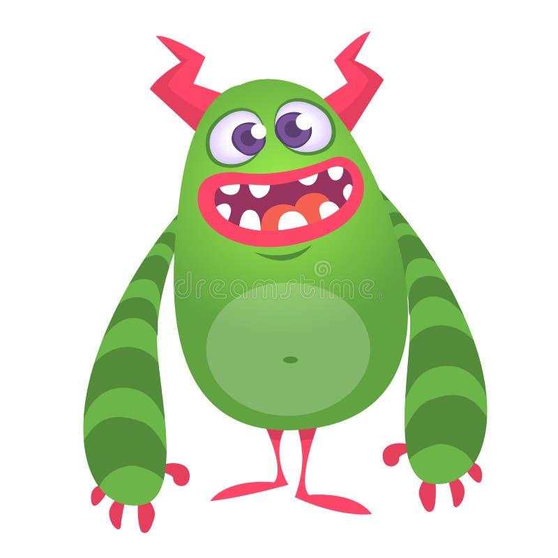 愉快的凉快的动画片油脂妖怪 绿色和有角的传染媒介妖怪字符 向量例证