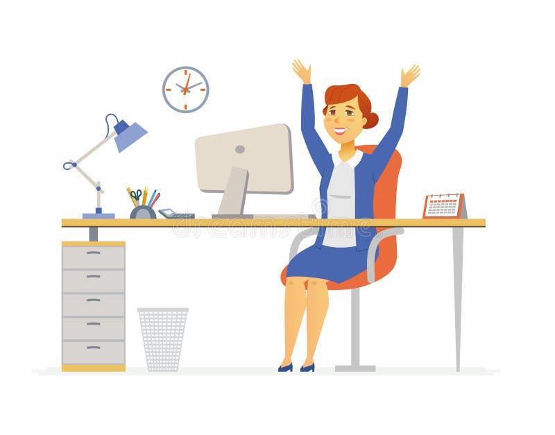 愉快的办公室工作者-现代动画片人字符例证 向量例证