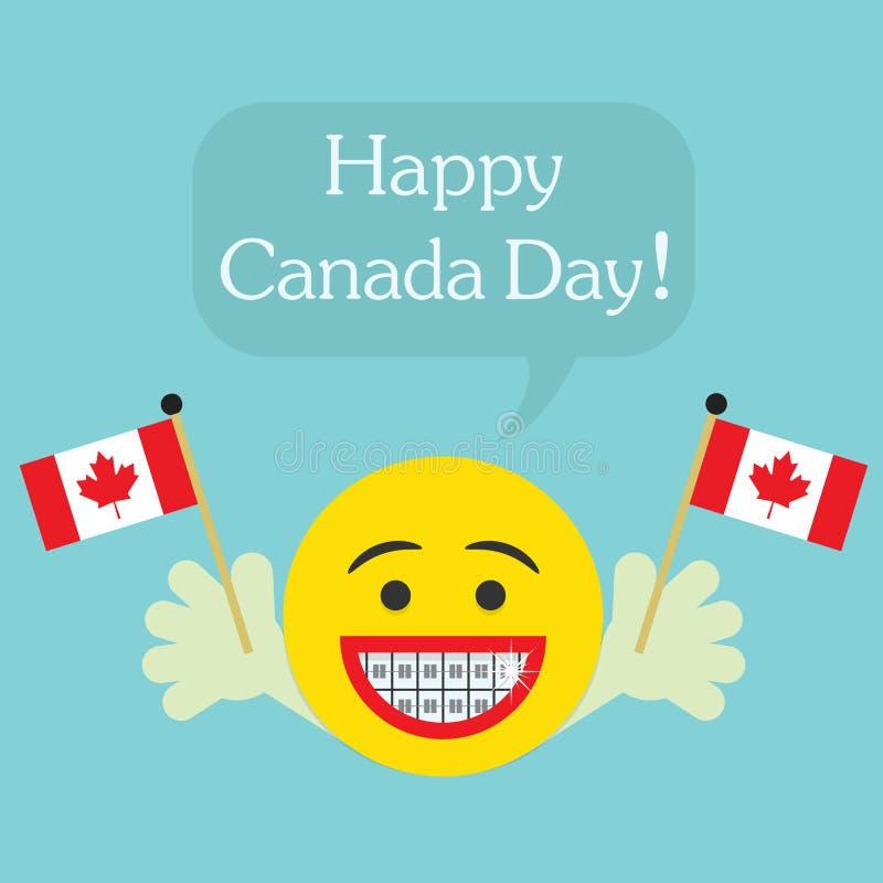 愉快的加拿大日!与大微笑和畸齿矫正术牙的兴高采烈的面孔象 皇族释放例证