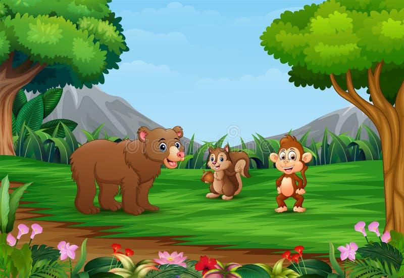 愉快的动物动画片在美丽的庭院里享用 向量例证