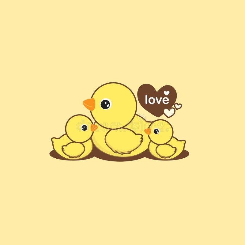 愉快的动物家庭 鸭子和鸭子动画片 皇族释放例证