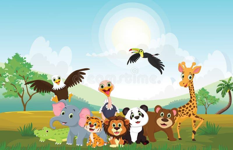 愉快的动物的例证在密林 库存例证