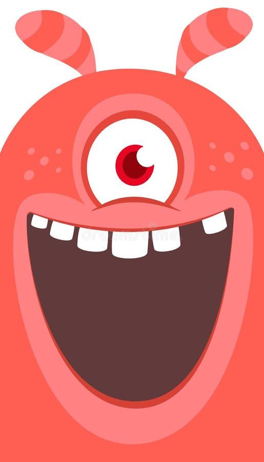 愉快的动画片妖怪一被注视 笑的妖怪面孔情感 万圣节向量例证 皇族释放例证