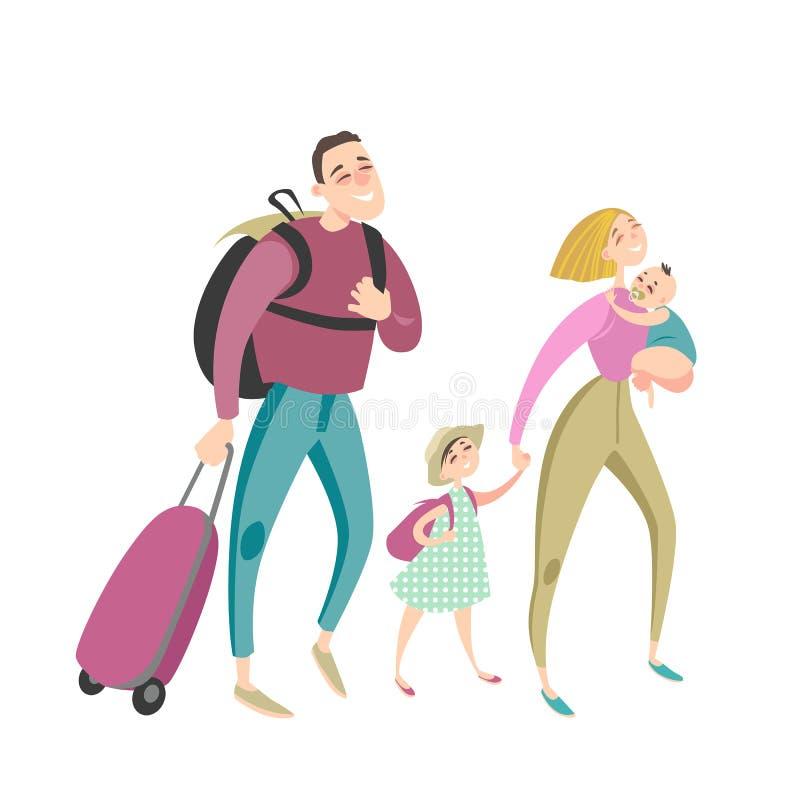 愉快的动画片家庭旅行一起 向量例证