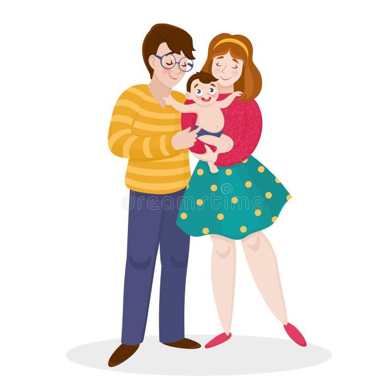 愉快的动画片家庭画象 父亲,母亲,一起儿子 与快乐的微笑的年轻家庭 向量例证
