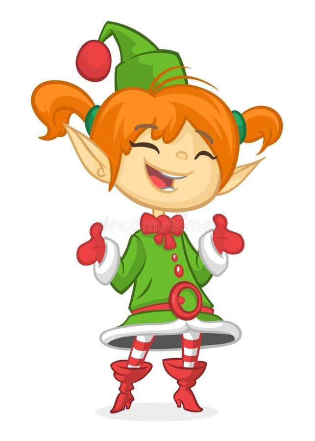 愉快的动画片微笑的白肤金发的女孩圣诞节圣诞老人` s矮子 蝴蝶 向量例证