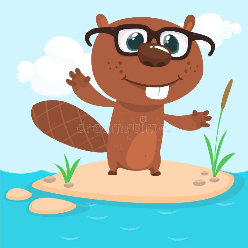 愉快的动画片海狸佩带的镜片 布朗海狸字符 在简单的自然背景隔绝的传染媒介例证 向量例证