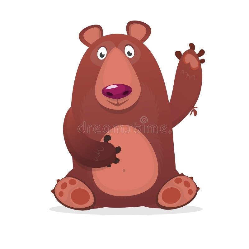 愉快的动画片熊 传染媒介被隔绝的棕熊的剪贴美术例证 向量例证