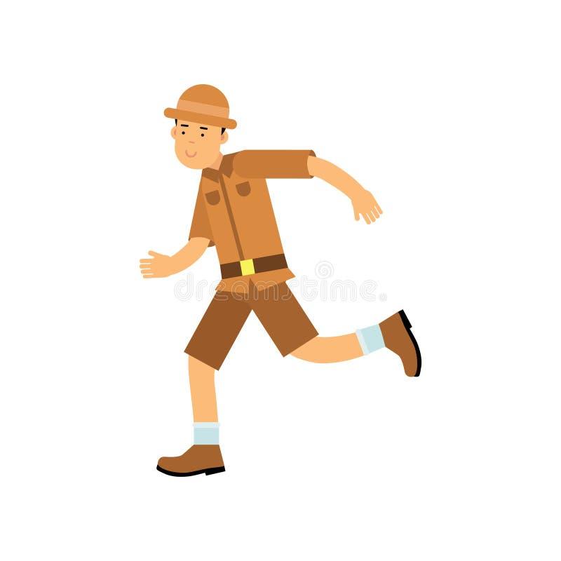 愉快的动画片考古学家字符赛跑 向量例证
