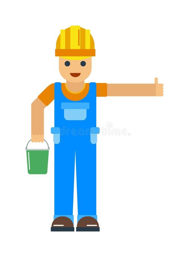 愉快的动画片安装工或建筑工人有安全帽子传染媒介的 库存例证