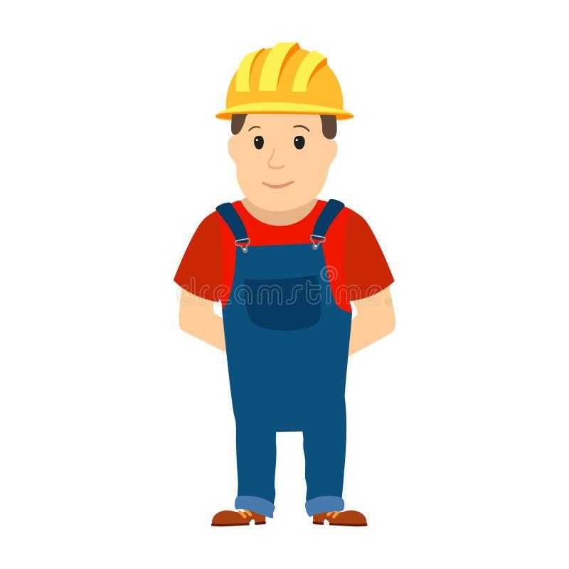 愉快的动画片安装工或建筑工人有安全帽子的 向量 皇族释放例证