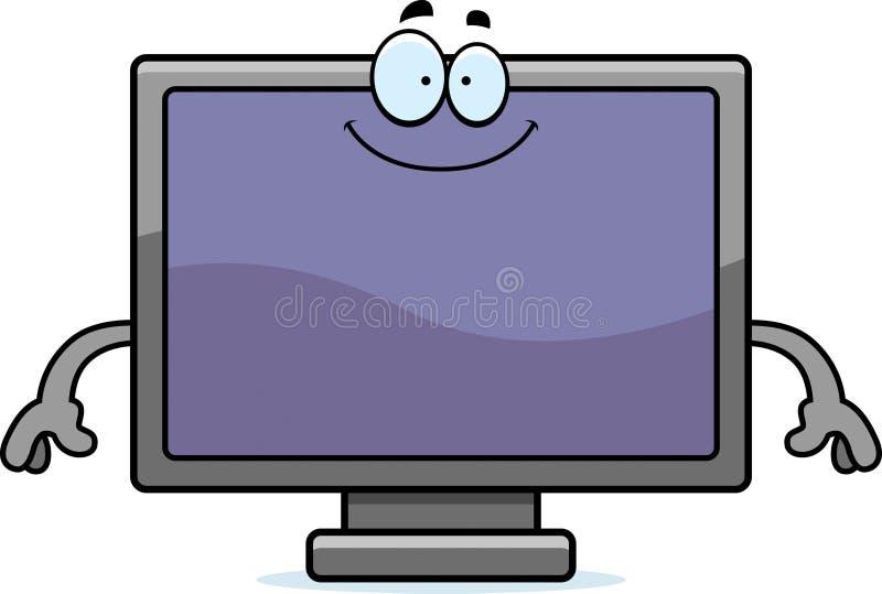 愉快的动画片平面屏幕电视 库存例证