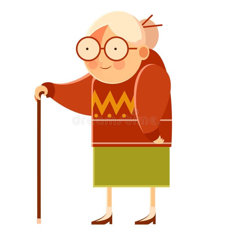 愉快的动画片祖母 向量例证