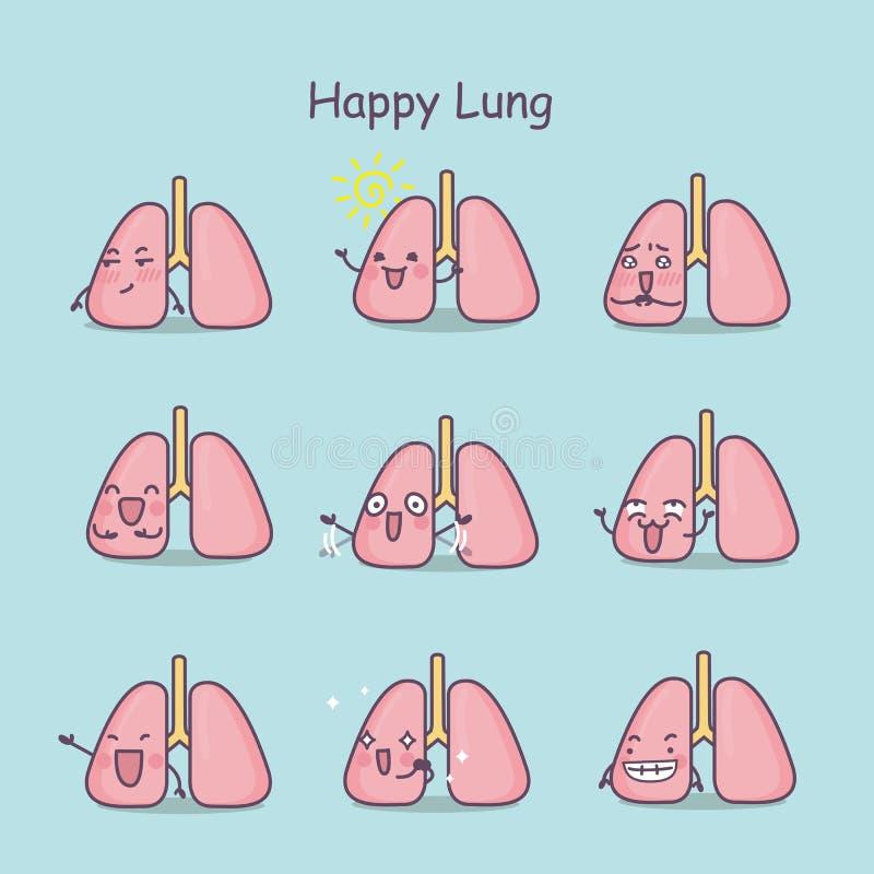 愉快的动画片肺集合 皇族释放例证