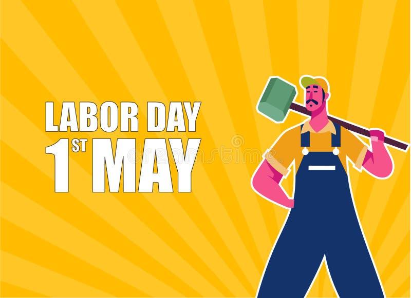 愉快的劳动节庆祝 愉快的劳动节明信片或海报或者飞行物模板 愉快的劳动节传染媒介例证 向量例证