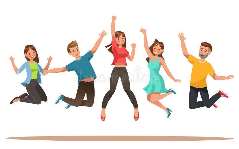 愉快的十几岁字符设计 跳舞传染媒介的十几岁 库存例证