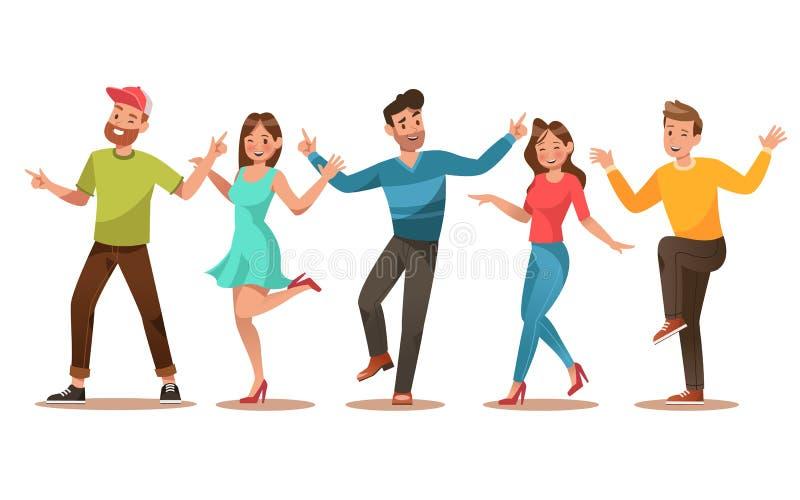 愉快的十几岁字符设计 跳舞传染媒介的十几岁 no2 向量例证