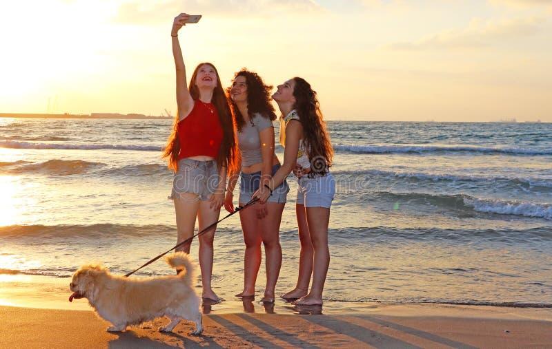 愉快的十几岁的女孩在海 库存照片