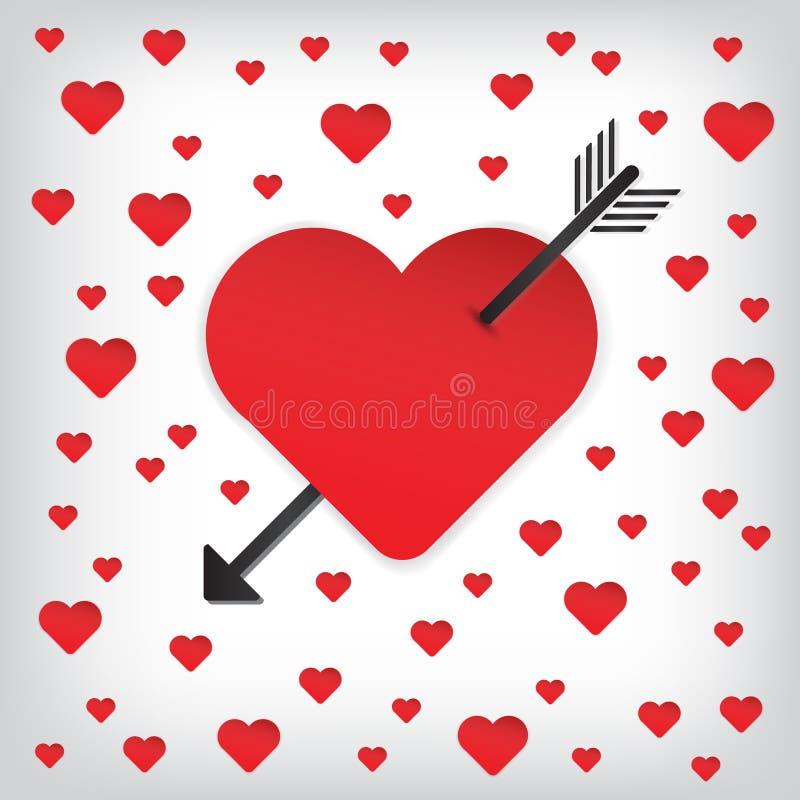 愉快的华伦泰的心脏和箭头传染媒介 向量例证