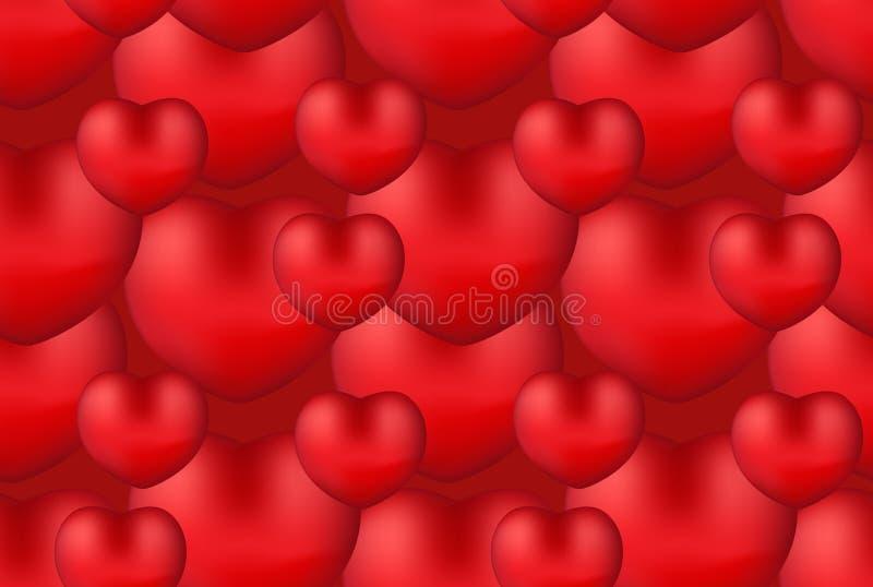 愉快的华伦泰` s天现实3d心脏无缝的样式 红色爱背景,言情重复的纹理 墙纸 皇族释放例证