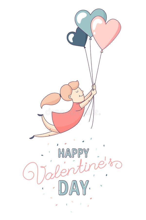 愉快的华伦泰` s天贺卡女性角色飞行心脏气球 库存例证