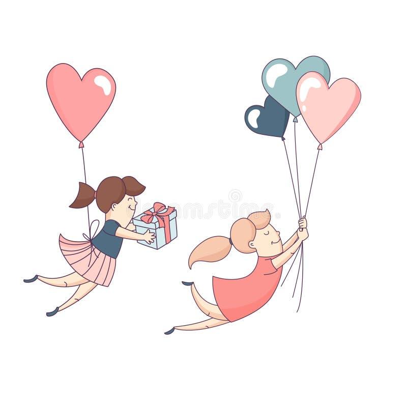 愉快的华伦泰` s天集合女性角色飞行心脏气球 库存例证