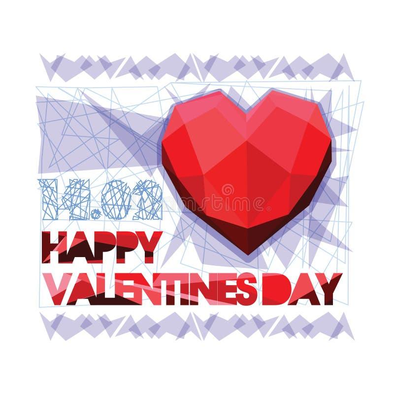 愉快的华伦泰s天 华伦泰和爱由纸裁减和多角形心脏在灰色背景 重叠的心形 皇族释放例证