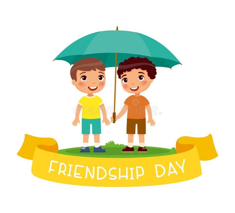 愉快的友谊天 两个逗人喜爱的小男孩站立与伞 向量例证
