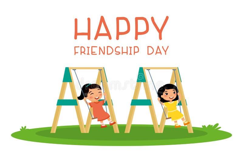 愉快的友谊天 摇摆在摇摆的两个逗人喜爱的矮小的亚裔女孩在公园或幼儿园操场 库存例证