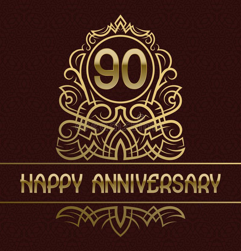 愉快的周年贺卡模板九十年庆祝 与金黄元素的葡萄酒设计 库存例证