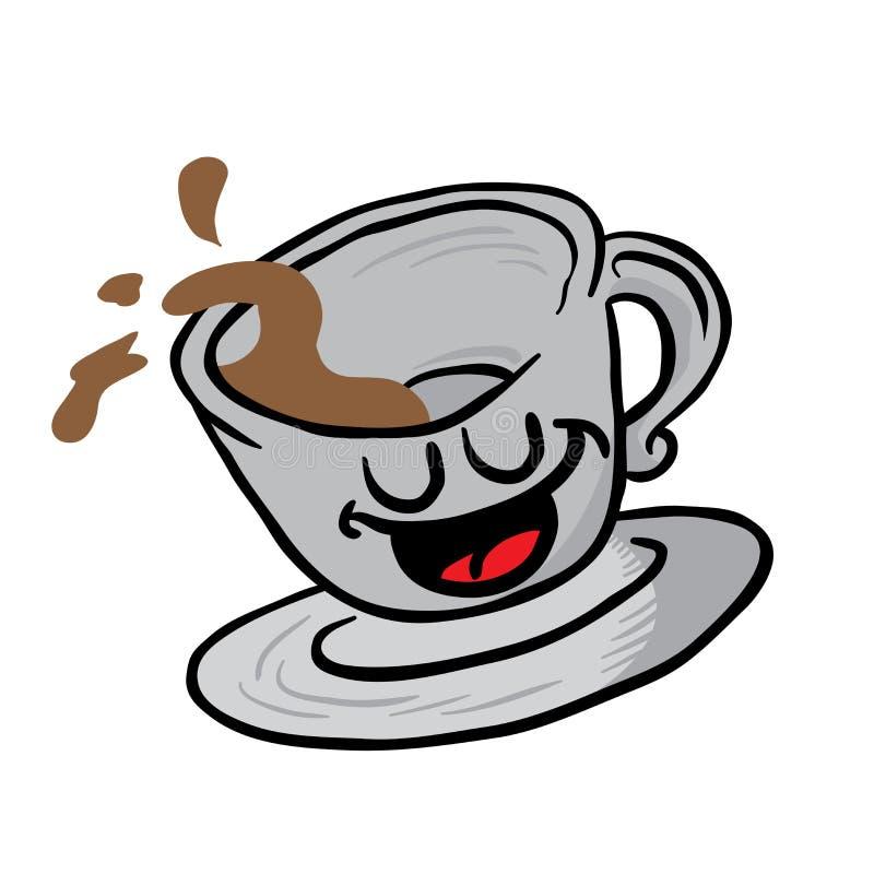 愉快的咖啡杯溢出 库存例证
