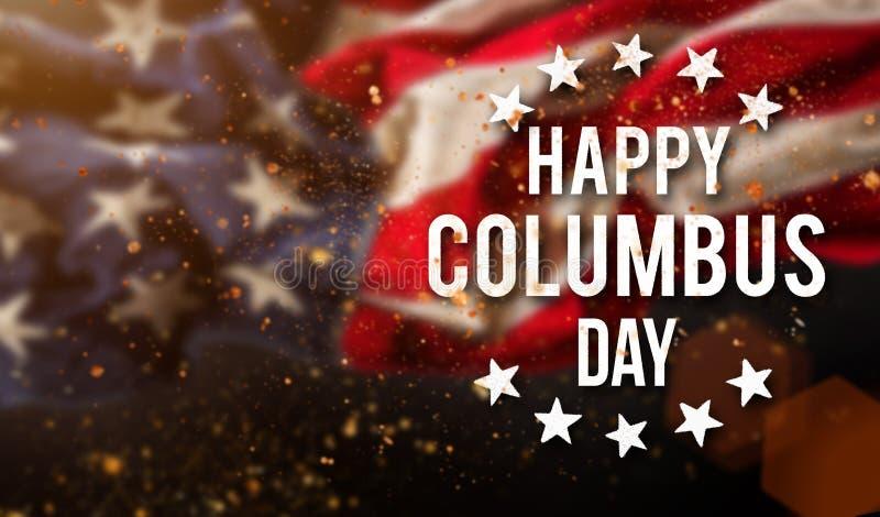 愉快的哥伦布日横幅,爱国背景 免版税库存照片