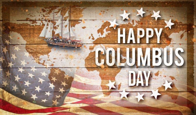 愉快的哥伦布日横幅,爱国背景 库存照片