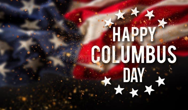 愉快的哥伦布日横幅,爱国背景 免版税库存图片