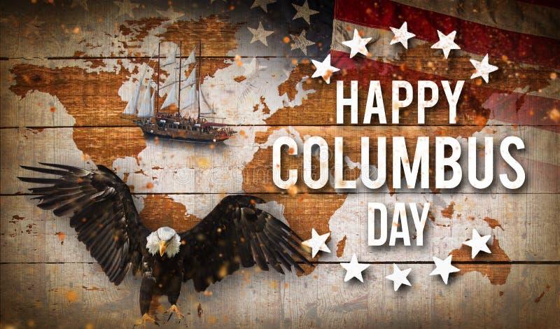 愉快的哥伦布日横幅,爱国背景 库存图片