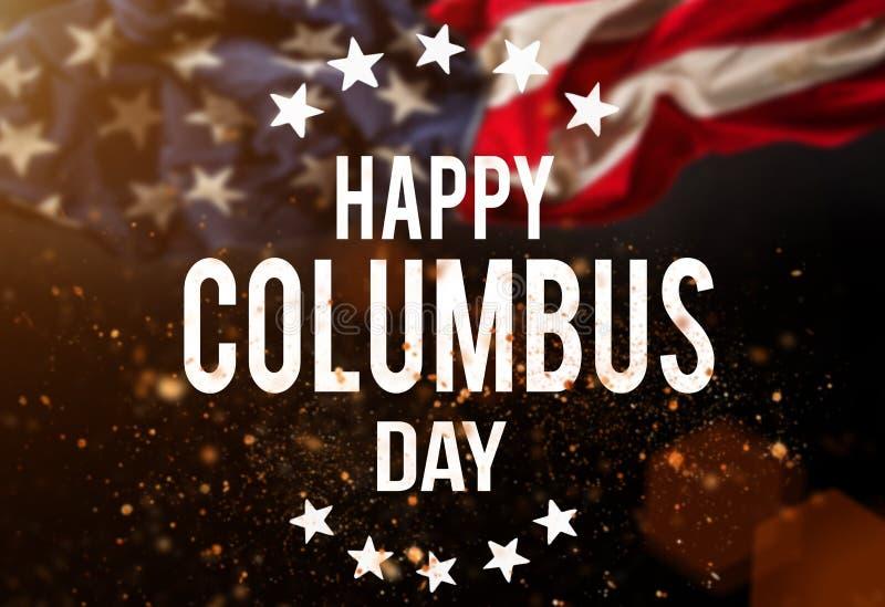 愉快的哥伦布日横幅,爱国背景 库存例证