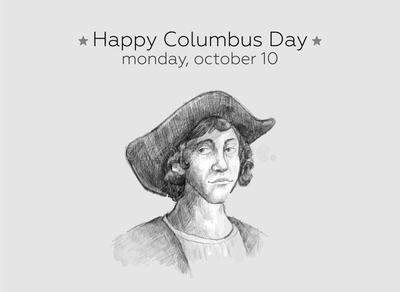 愉快的哥伦布日设计观念传染媒介平的设计 愉快的哥伦布日问候或横幅或者明信片或者海报或者飞行物 向量例证
