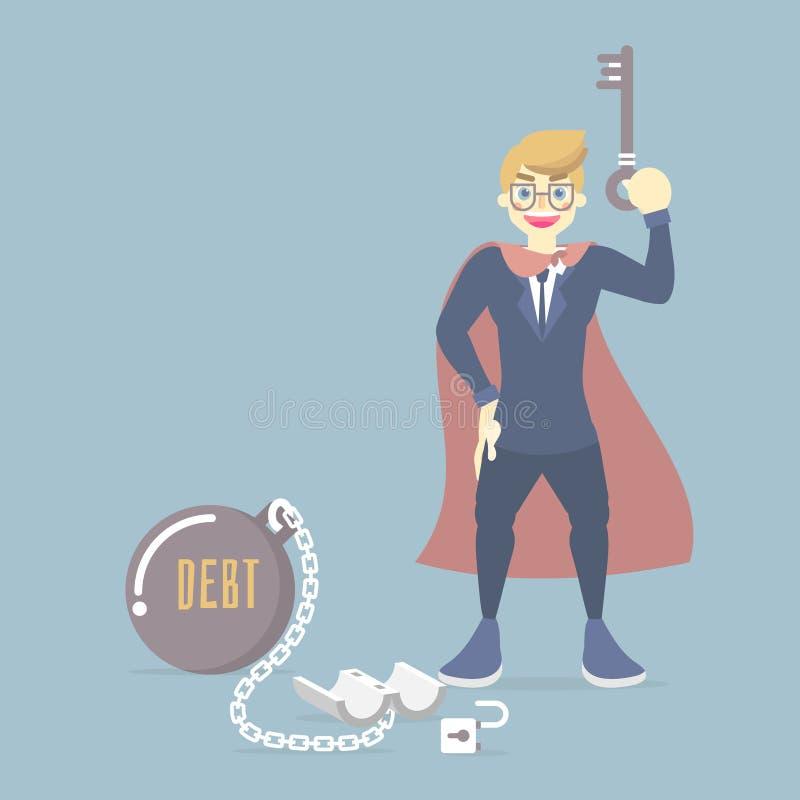 愉快的商人佩带的超级英雄服装,对负关键,使用它打开从钢金属球,财政,债务的关键垫链子 库存例证