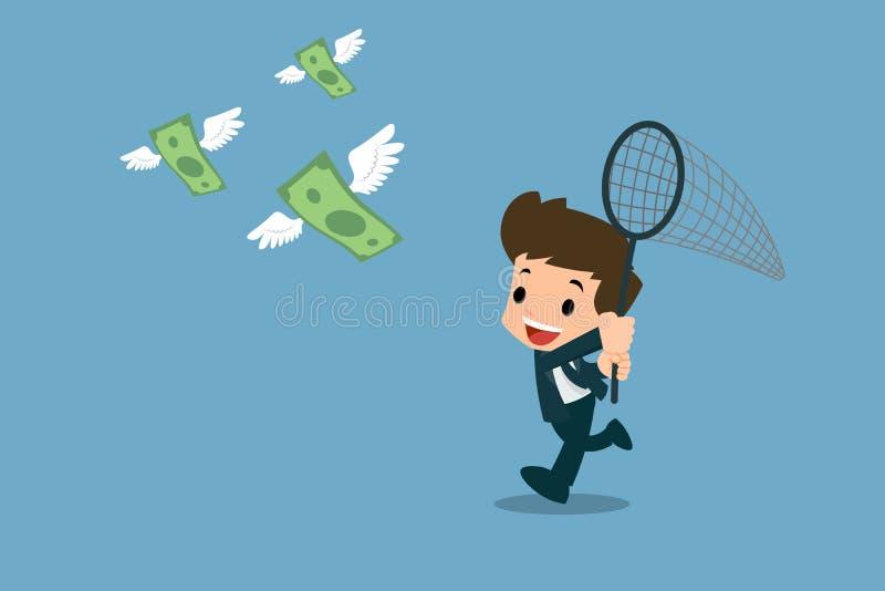 愉快的商人使用昆虫诱捕网对尝试,跑捉住钞票群与飞行在天空中的翼的 向量例证