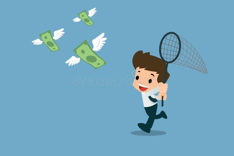 愉快的商人使用昆虫诱捕网对尝试,跑捉住钞票群与飞行在天空中的翼的 皇族释放例证